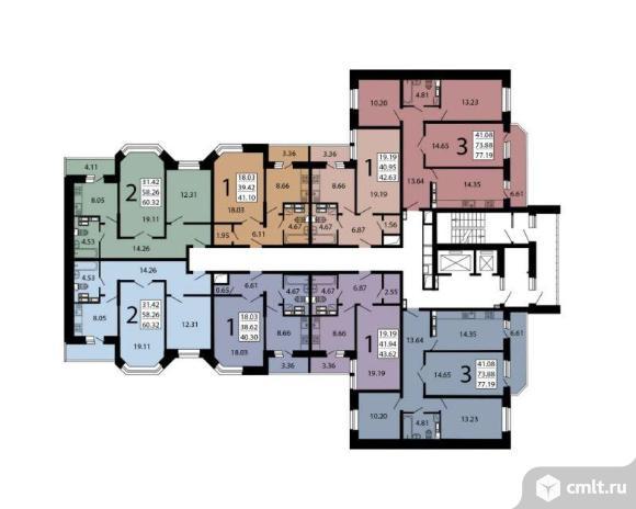 3-комнатная квартира 77,04 кв.м. Фото 5.