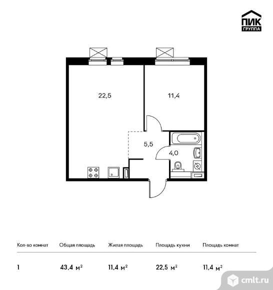1-комнатная квартира 43,4 кв.м. Фото 1.