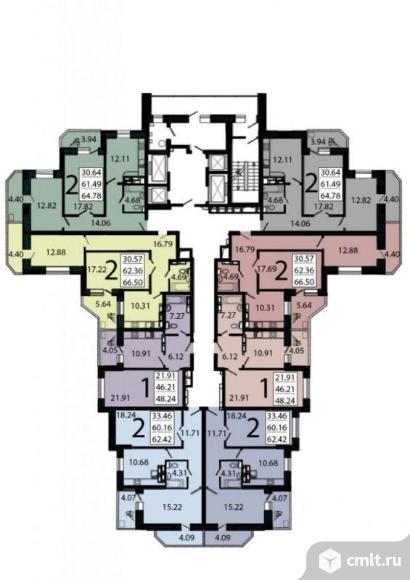 1-комнатная квартира 48,24 кв.м. Фото 5.
