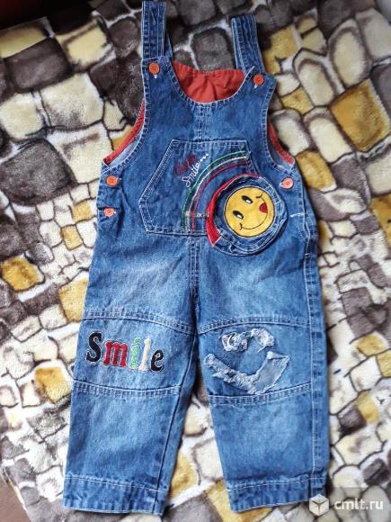 Полукомбинезон джинсовый стильный. Фото 1.