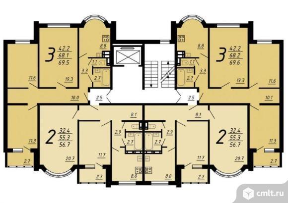 3-комнатная квартира 69,7 кв.м. Фото 2.