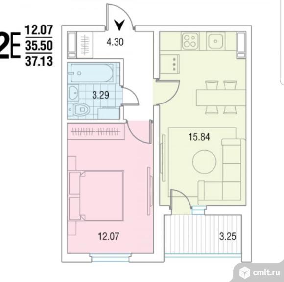 2-комнатная квартира 37,13 кв.м. Фото 2.