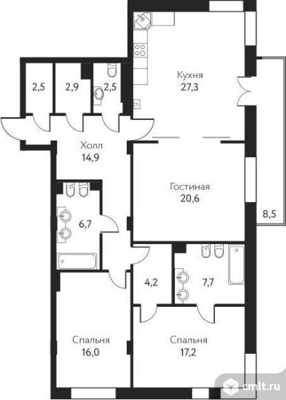3-комнатная квартира 125,2 кв.м. Фото 4.