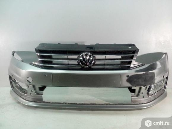 Бампер передний под парк + решетка + птф левая VW POLO 15- б/у 6RU807221AGRU 6RU853651DRYP 6R0941061. Фото 1.