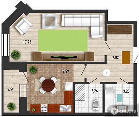 1-комнатная квартира 40,87 кв.м. Фото 1.