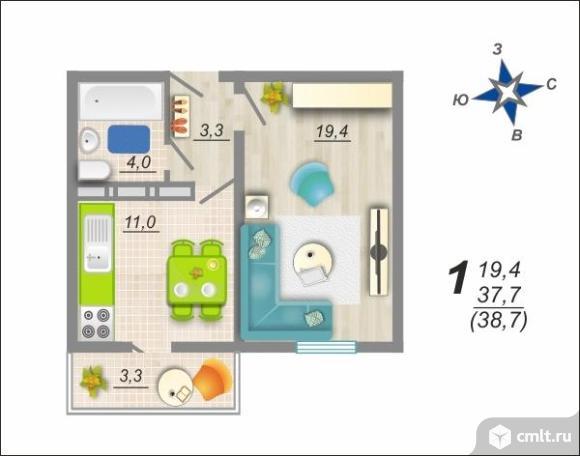 1-комнатная квартира 38,7 кв.м. Фото 2.