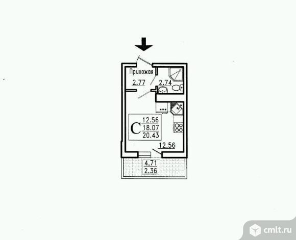 1-комнатная квартира 20,43 кв.м. Фото 1.