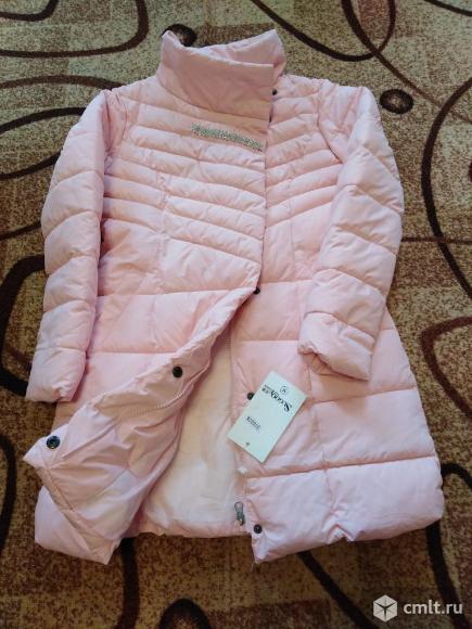 Новое нежно розовое димисезонное пальто(новое). Фото 1.