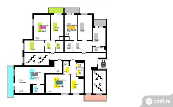 1-комнатная квартира 48,5 кв.м. Фото 4.