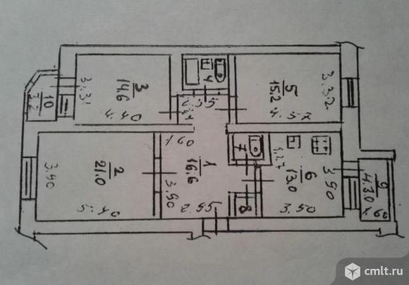 3-комнатная квартира 90 кв.м. Фото 13.