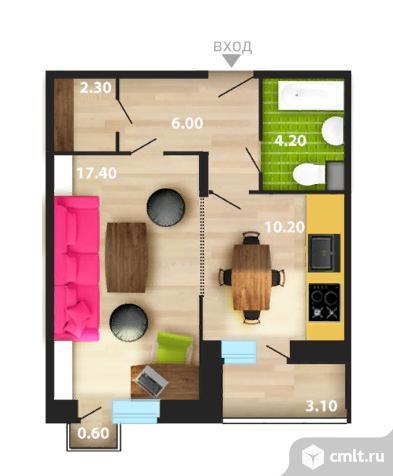 1-комнатная квартира 41 кв.м. Фото 5.