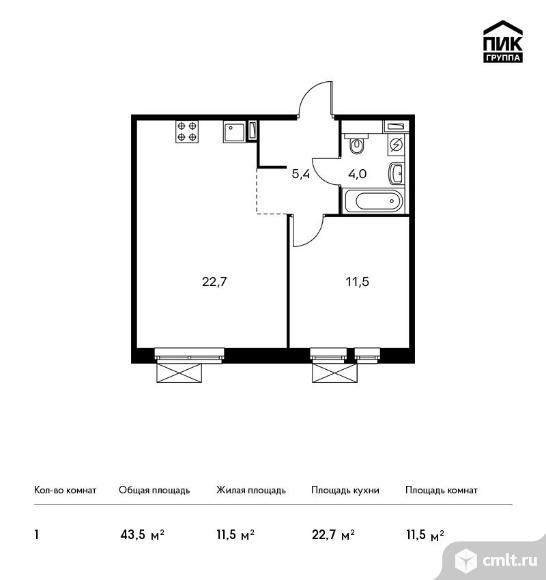 1-комнатная квартира 43,5 кв.м. Фото 1.