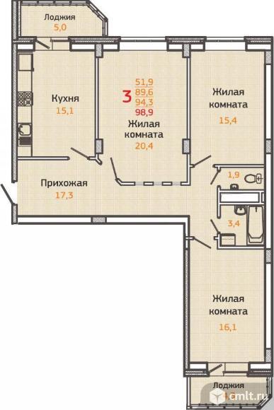 3-комнатная квартира 98,9 кв.м. Фото 1.