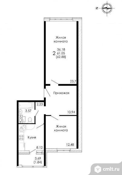 2-комнатная квартира 62,88 кв.м. Фото 2.