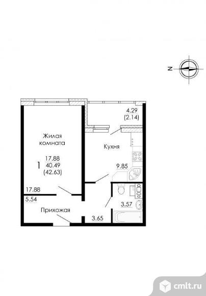1-комнатная квартира 42,63 кв.м. Фото 2.