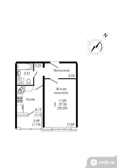 1-комнатная квартира 39,09 кв.м. Фото 2.