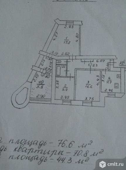 Матросова ул., №127, Кривошеина ост. Трехкомнатная квартира. Фото 8.