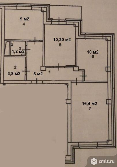 3-комнатная квартира 59,4 кв.м. Фото 19.