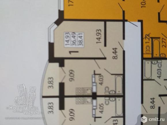 1-комнатная квартира 38,83 кв.м. Фото 1.