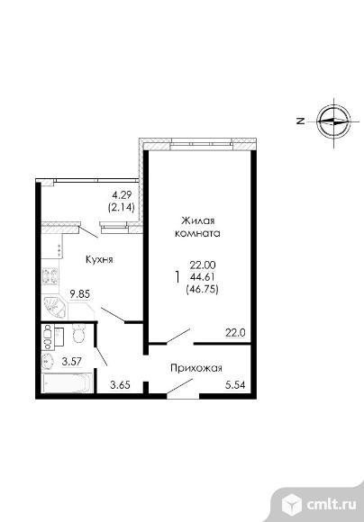 Продается 1-комн. квартира 46.8 м2. Фото 4.