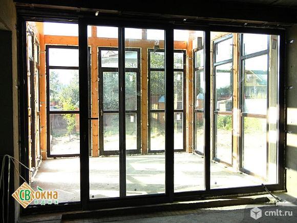 Раздвижные (портальные) деревянные окна и двери. Фото 1.