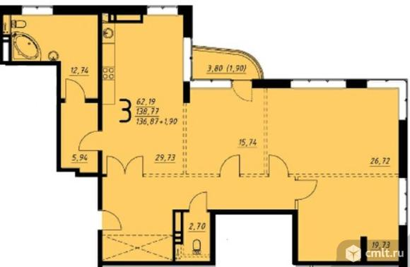 3-комнатная квартира 138,77 кв.м. Фото 1.