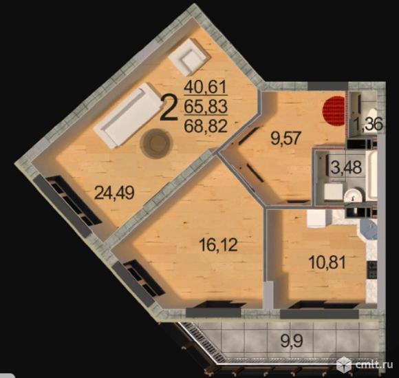 2-комнатная квартира 68,82 кв.м. Фото 1.