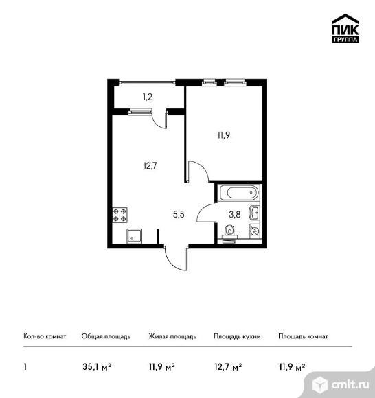 1-комнатная квартира 35,1 кв.м. Фото 1.