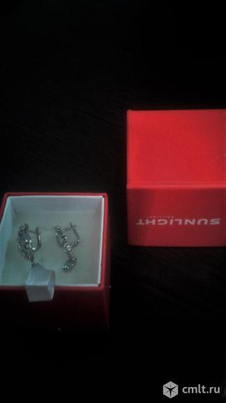 Новые серебряные серёжки с топазами и фианитом.. Фото 3.