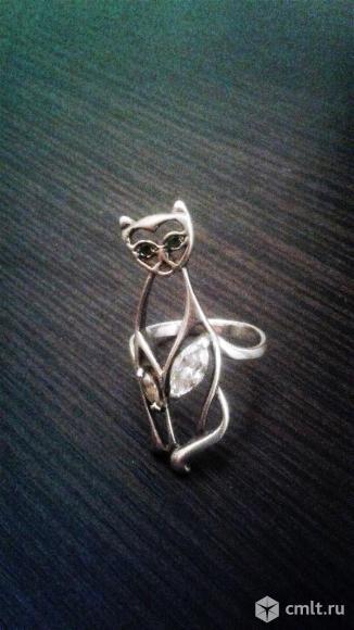 Оригинальное серебряное кольцо-Кошка.. Фото 1.