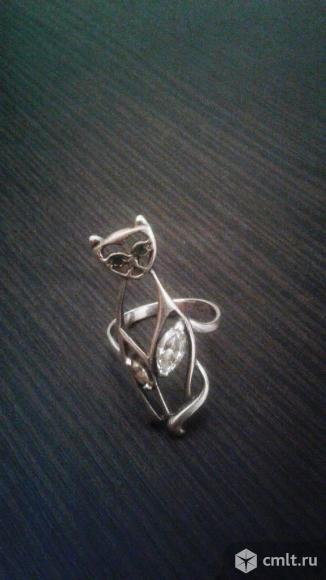 Оригинальное серебряное кольцо-Кошка.. Фото 3.