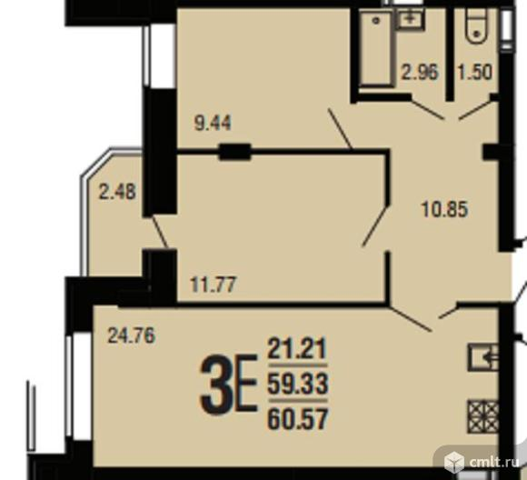 3-комнатная квартира 76,29 кв.м. Фото 3.