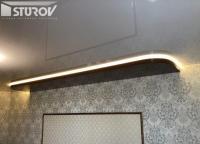 Натяжные потолки двухуровневые с подсветкой. Глянцевые потолки цветные.
