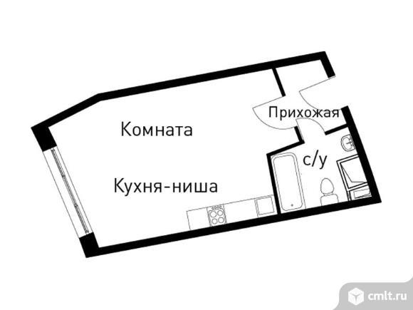 1-комнатная квартира 34,4 кв.м. Фото 1.