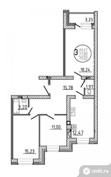 3-комнатная квартира 79,52 кв.м. Фото 2.