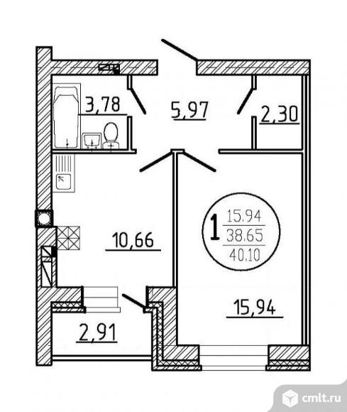 1-комнатная квартира 40,1 кв.м. Фото 2.
