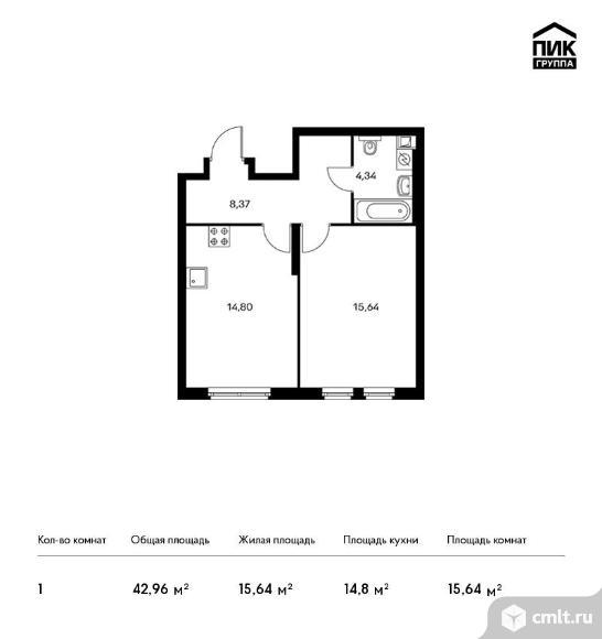1-комнатная квартира 42,96 кв.м. Фото 1.