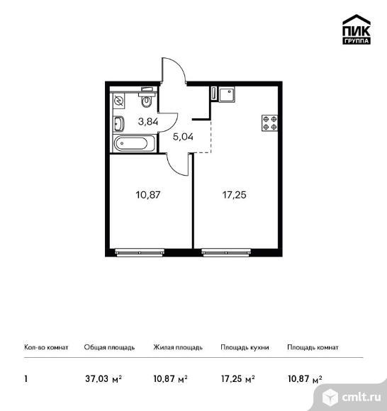 1-комнатная квартира 37,03 кв.м. Фото 1.