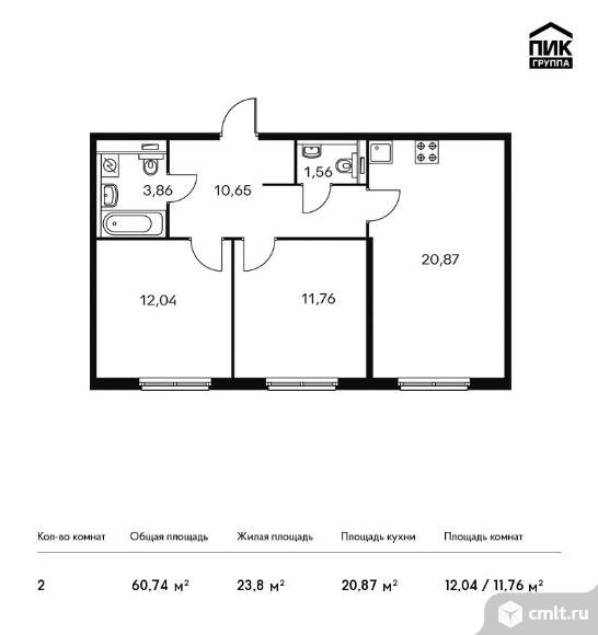 2-комнатная квартира 60,74 кв.м. Фото 1.