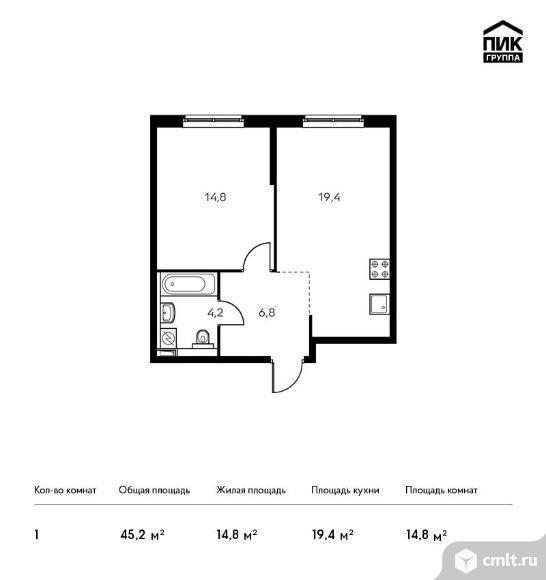 1-комнатная квартира 45,2 кв.м. Фото 1.