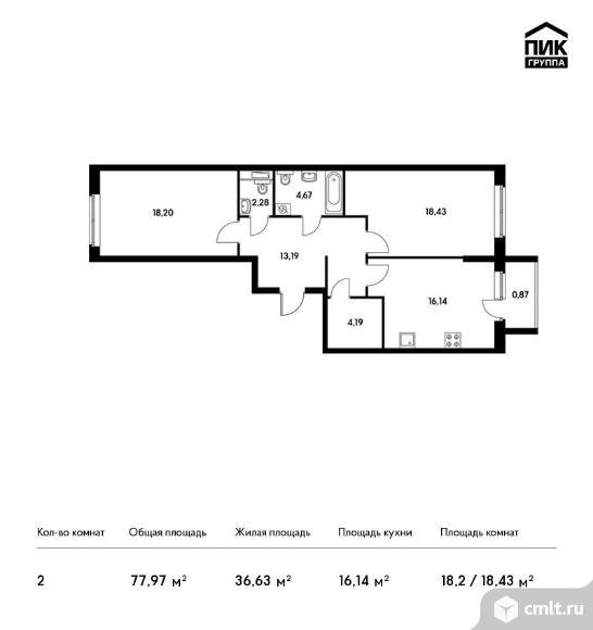 2-комнатная квартира 77,97 кв.м. Фото 1.