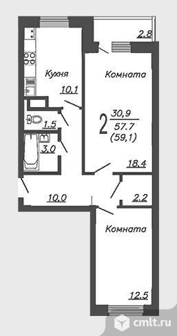 2-комнатная квартира 59 кв.м. Фото 3.