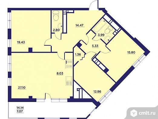 3-комнатная квартира 120,11 кв.м. Фото 1.