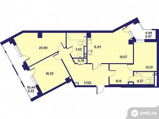 3-комнатная квартира 120,21 кв.м. Фото 1.