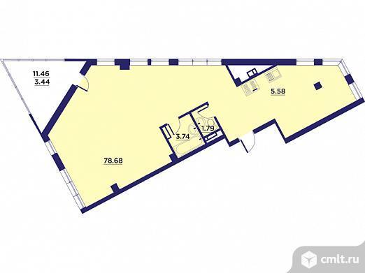 1-комнатная квартира 93,29 кв.м. Фото 1.
