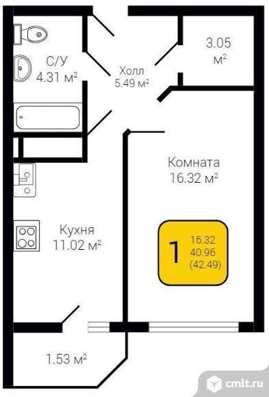 1-комнатная квартира 42,49 кв.м. Фото 1.