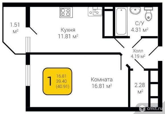 1-комнатная квартира 40,91 кв.м. Фото 1.