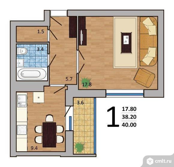 1-комнатная квартира 40 кв.м. Фото 2.