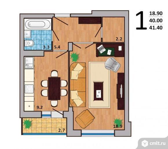 1-комнатная квартира 41 кв.м. Фото 2.