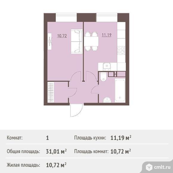 1-комнатная квартира 31,01 кв.м. Фото 1.
